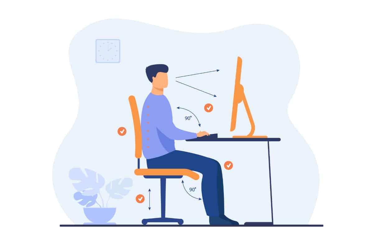 Prawidłowa pozycja ciała przy biurku. Ból kręgosłupa lędźwiowo-krzyżowego.